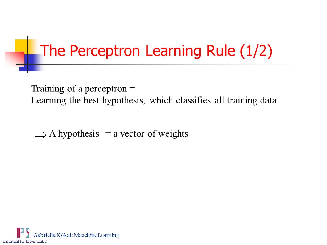 The Perceptron Learning Rule (1/2)