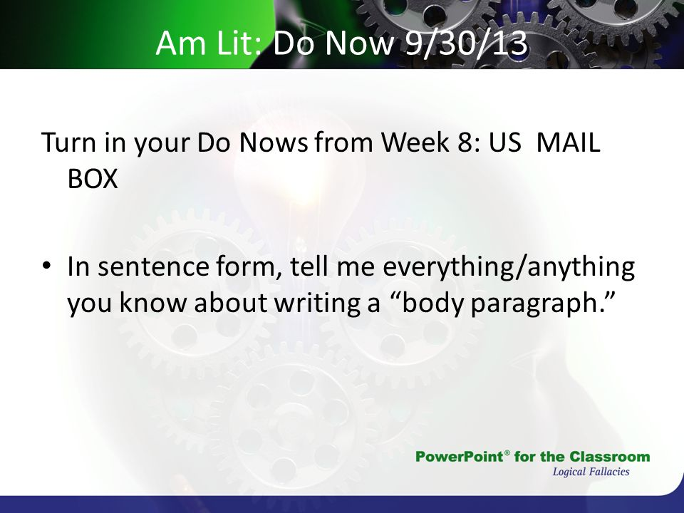 Am Lit: Do Now 9/30/13 Turn in your Do Nows from Week 8: US MAIL BOX