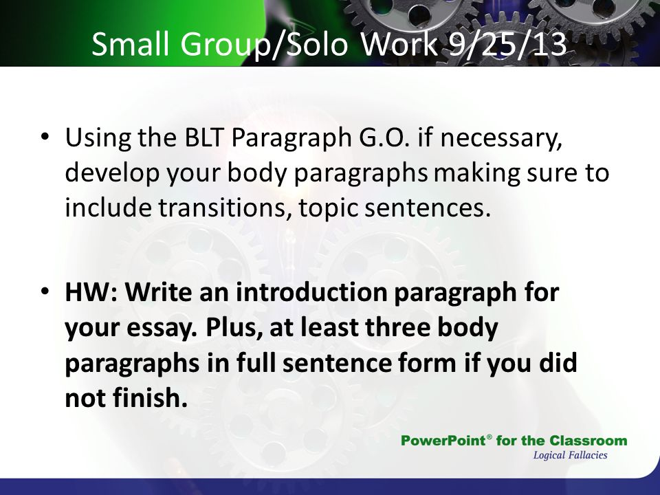 Small Group/Solo Work 9/25/13