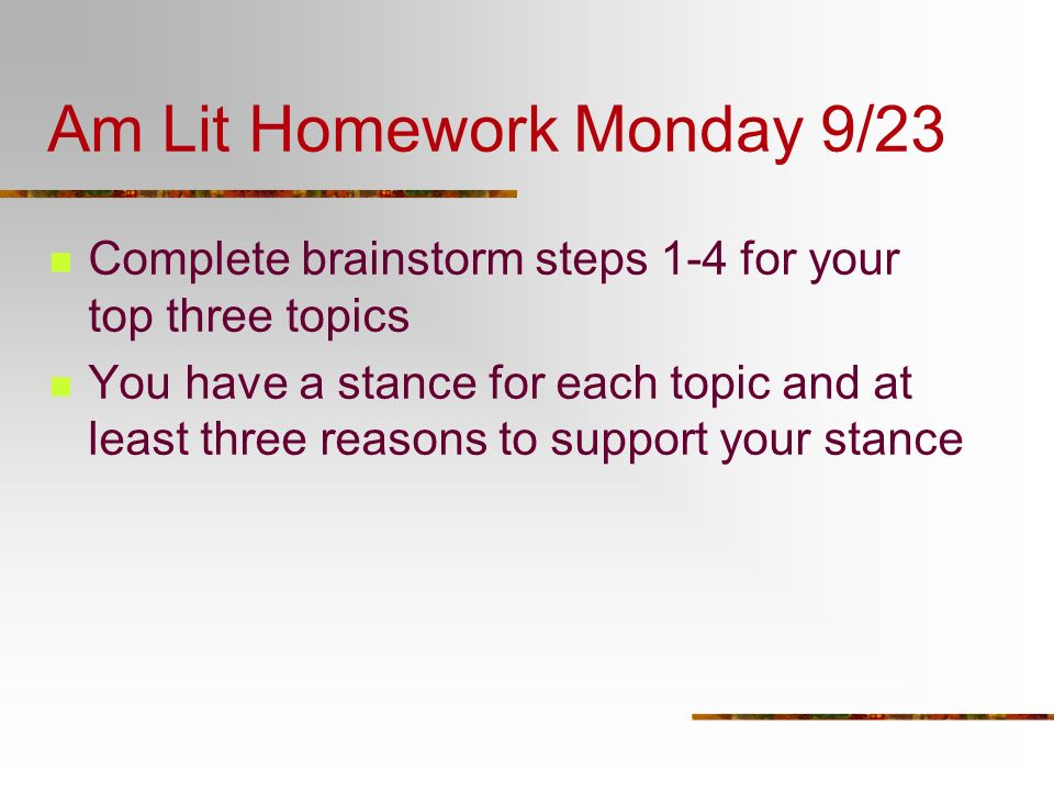 Am Lit Homework Monday 9/23