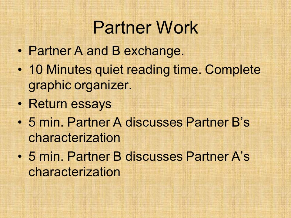 Partner Work Partner A and B exchange.