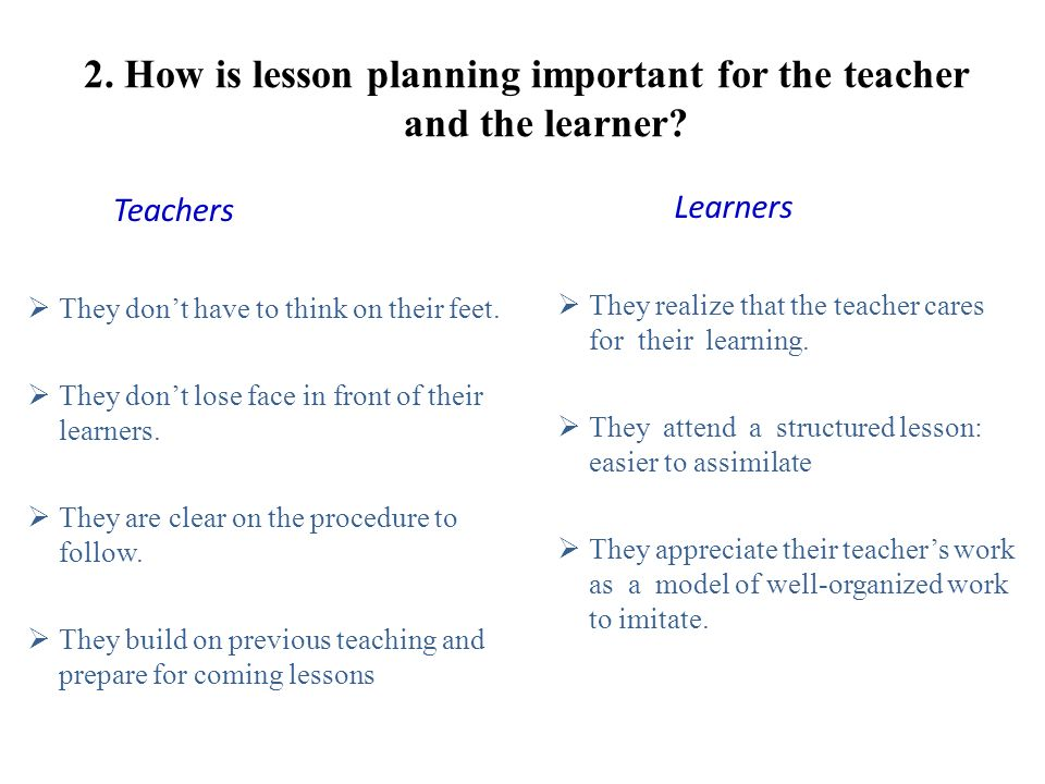 2. How is lesson planning important for the teacher and the learner