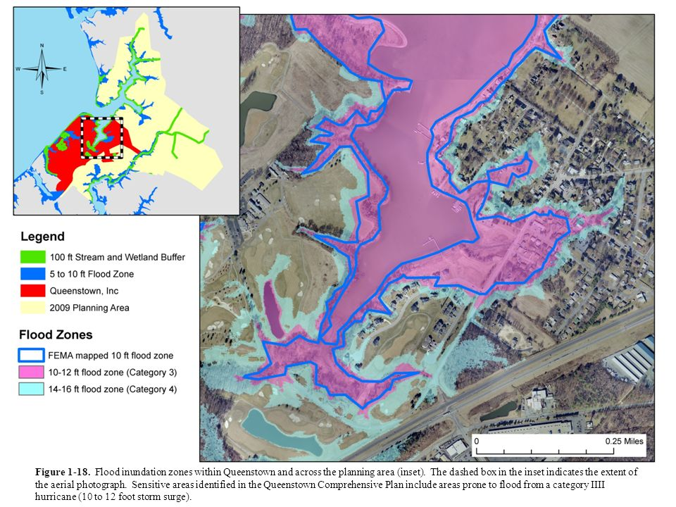 Figure 1-18. Flood inundation zones within Queenstown and across the planning area (inset).