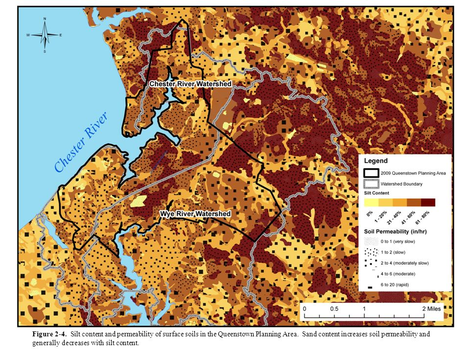 Figure 2-4. Silt content and permeability of surface soils in the Queenstown Planning Area.