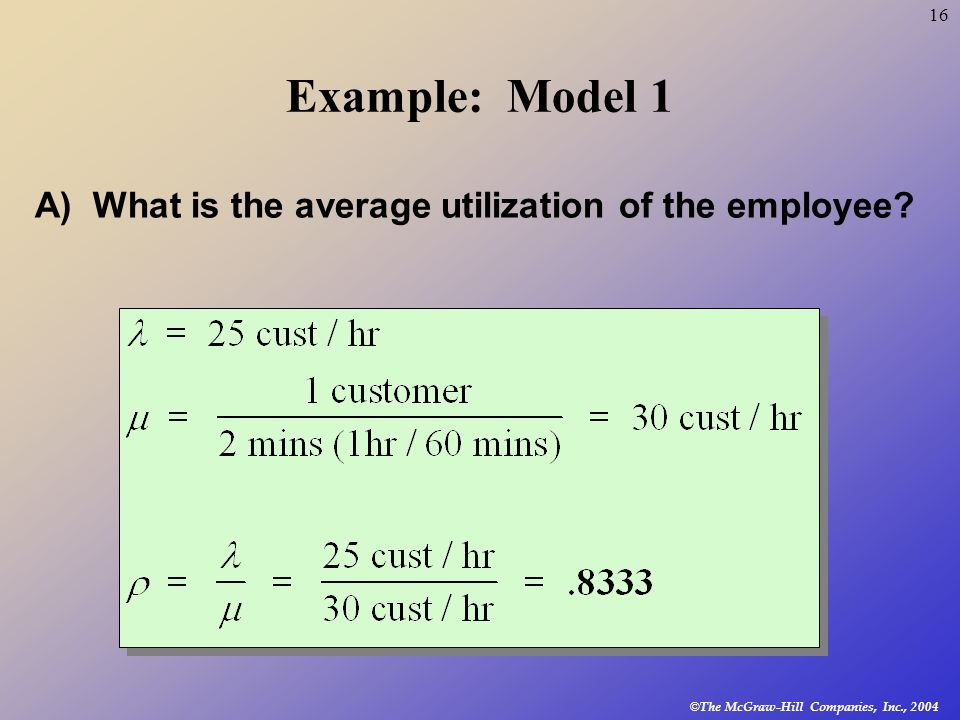 Example: Model 1 A) What is the average utilization of the employee