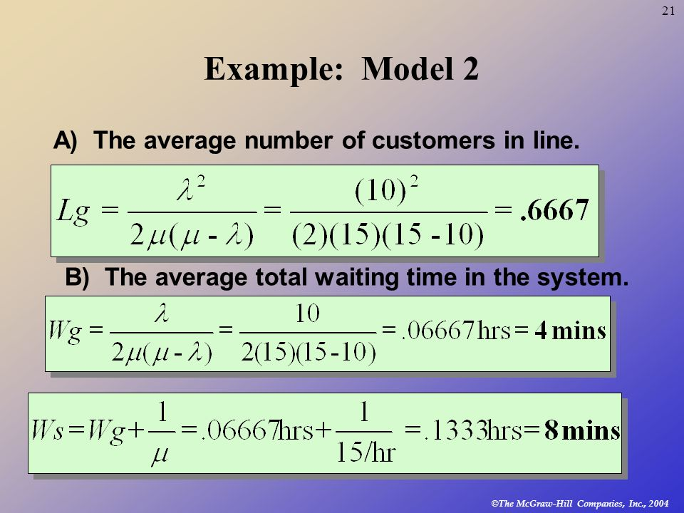 Example: Model 2 A) The average number of customers in line.