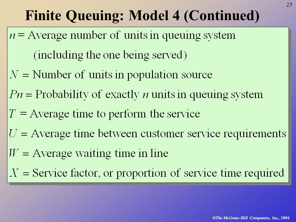 Finite Queuing: Model 4 (Continued)