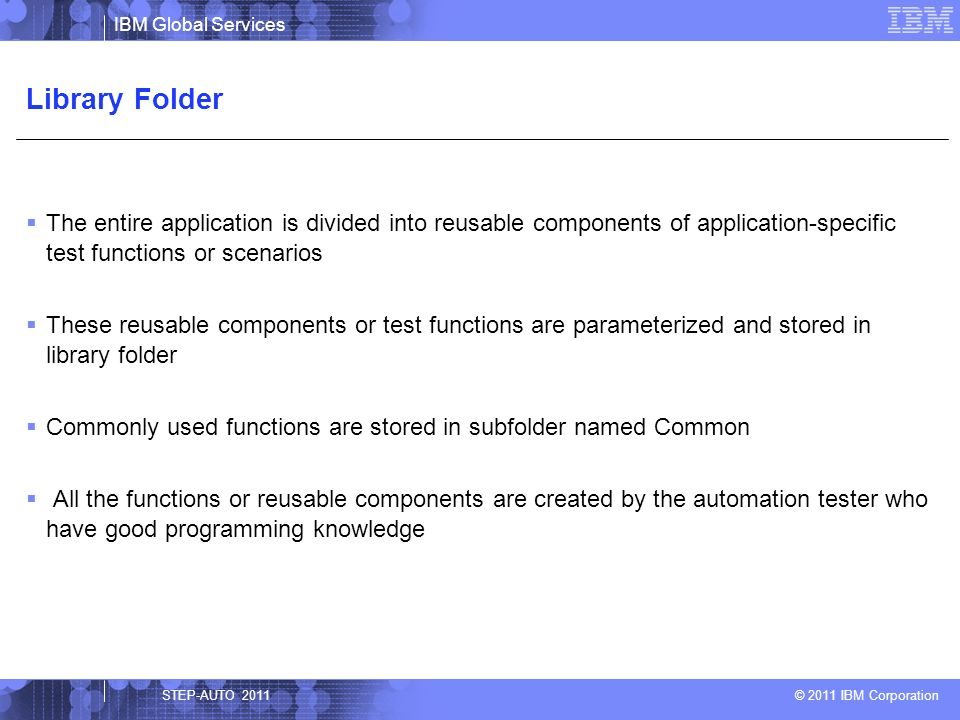 Library Folder The entire application is divided into reusable components of application-specific test functions or scenarios.