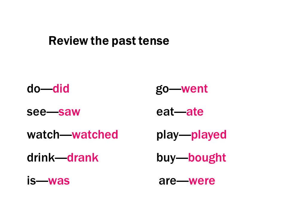 Review the past tense do----did go----went. see----saw eat----ate.