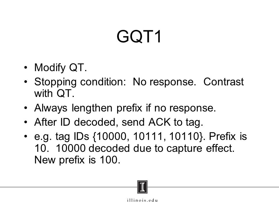 GQT1 Modify QT. Stopping condition: No response. Contrast with QT.