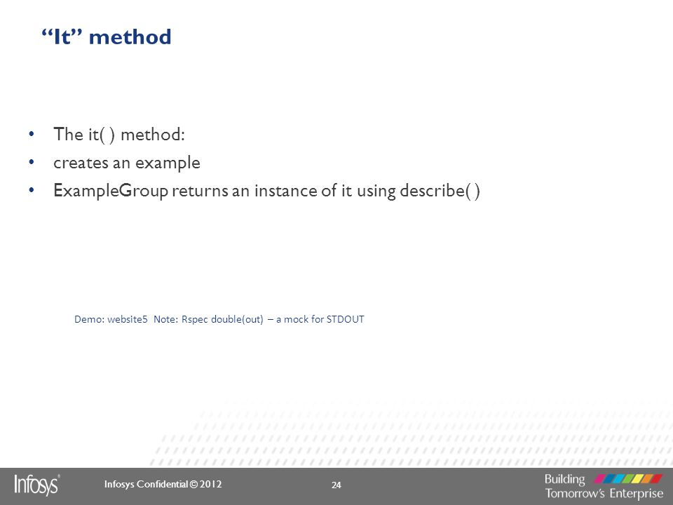 It method The it( ) method: creates an example