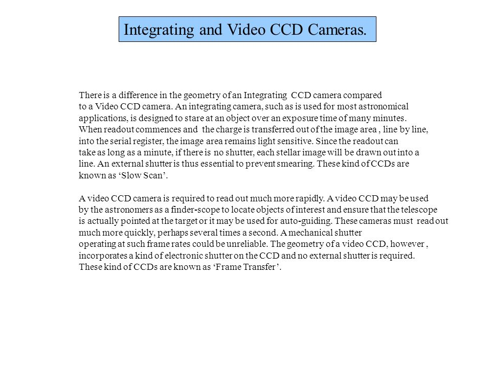 Integrating and Video CCD Cameras.