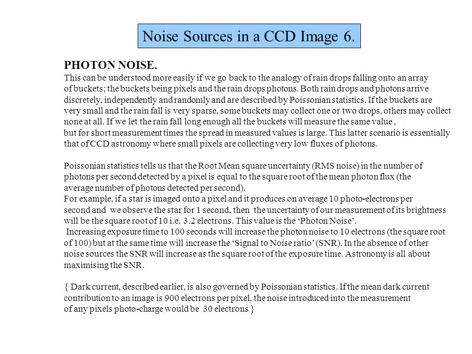 Noise Sources in a CCD Image 6.