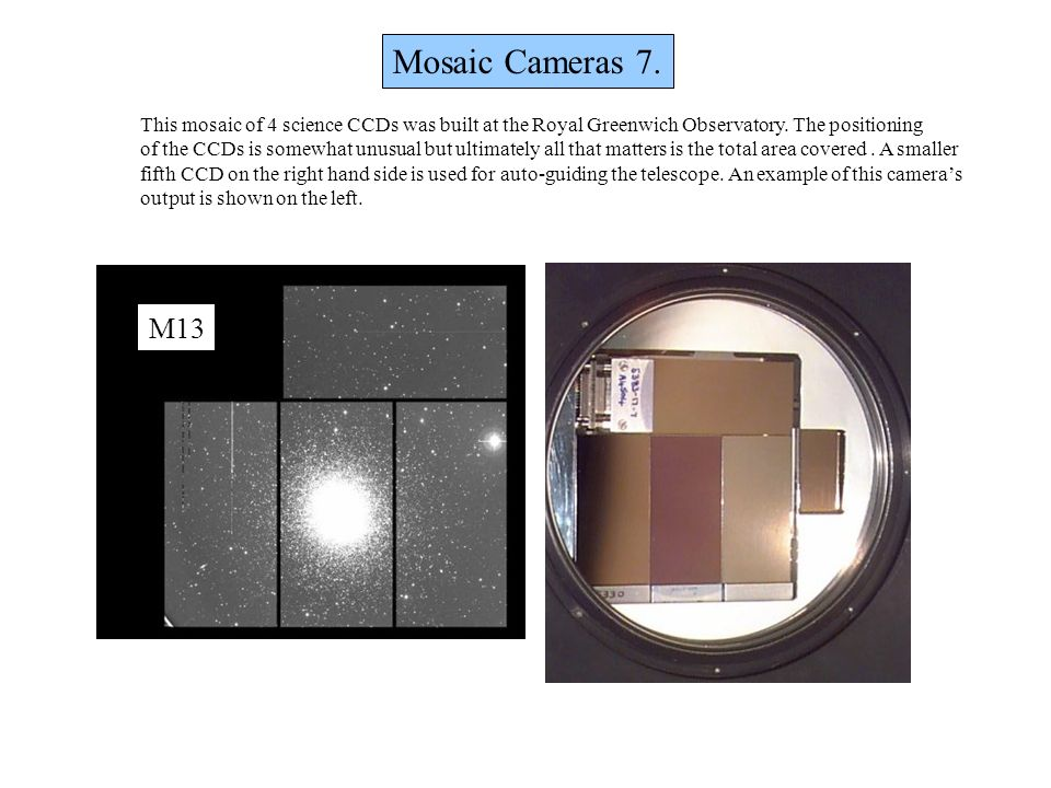 Mosaic Cameras 7. This mosaic of 4 science CCDs was built at the Royal Greenwich Observatory. The positioning.