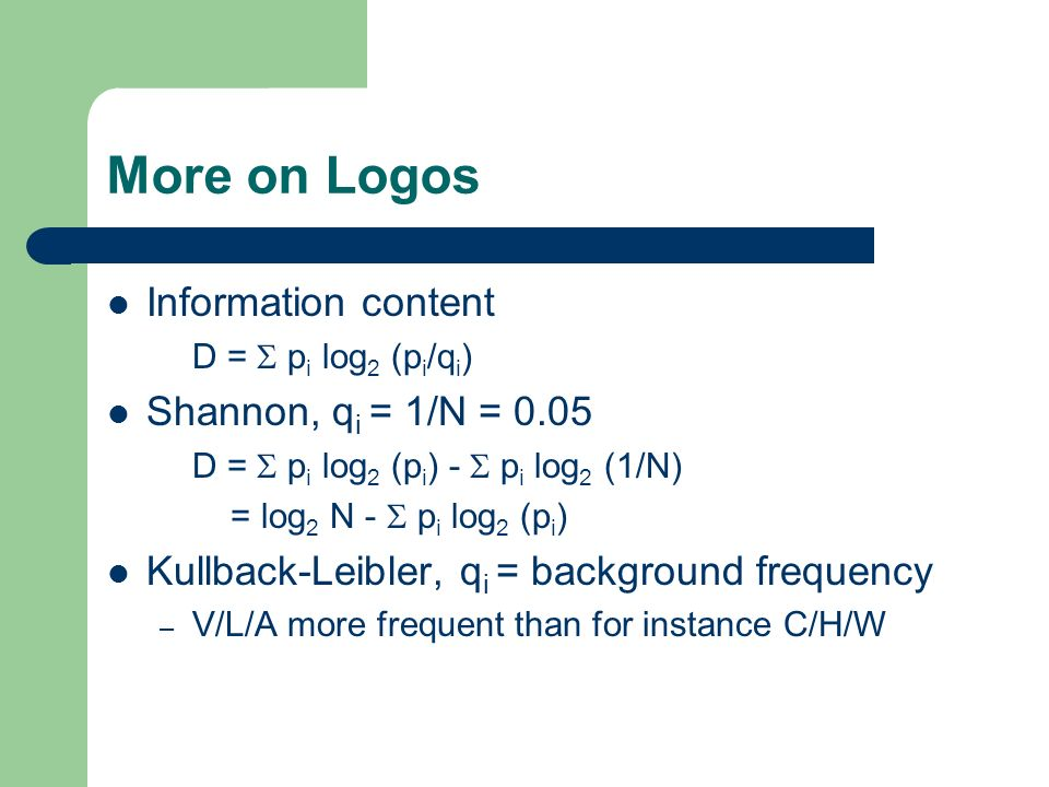 More on Logos Information content Shannon, qi = 1/N = 0.05