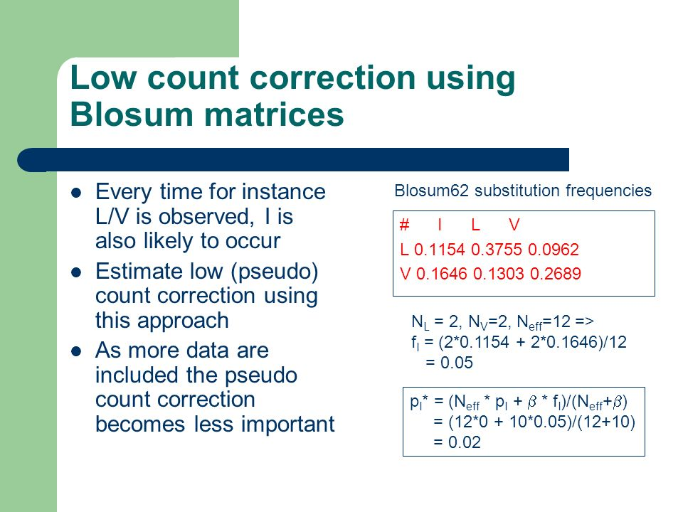 Low count correction using Blosum matrices