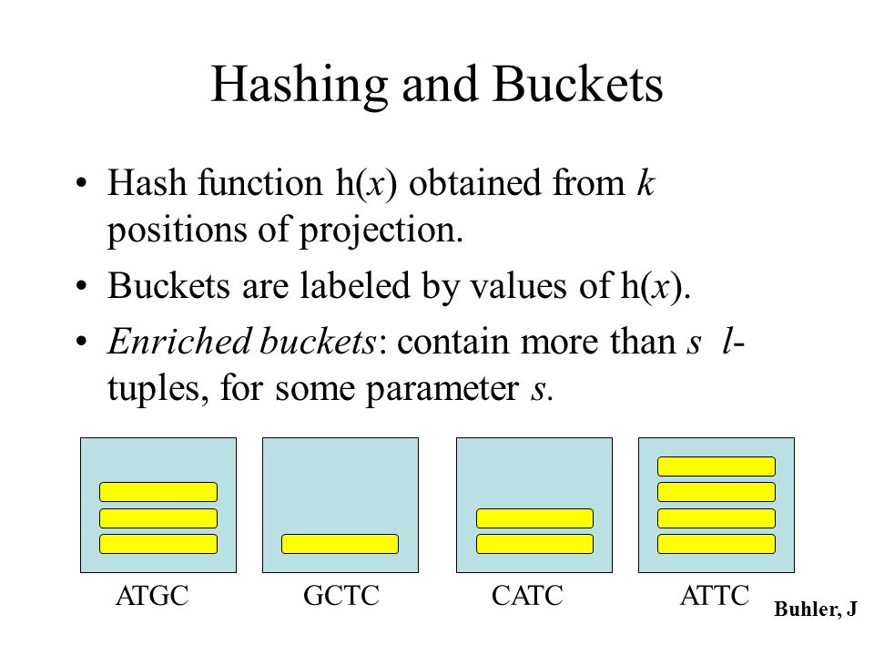 Hashing and Buckets Hash function h(x) obtained from k positions of projection. Buckets are labeled by values of h(x).
