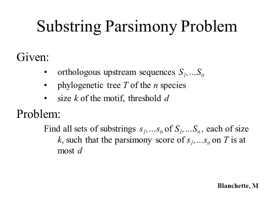 Substring Parsimony Problem