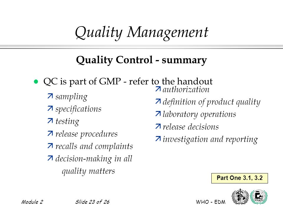 Quality Control - summary