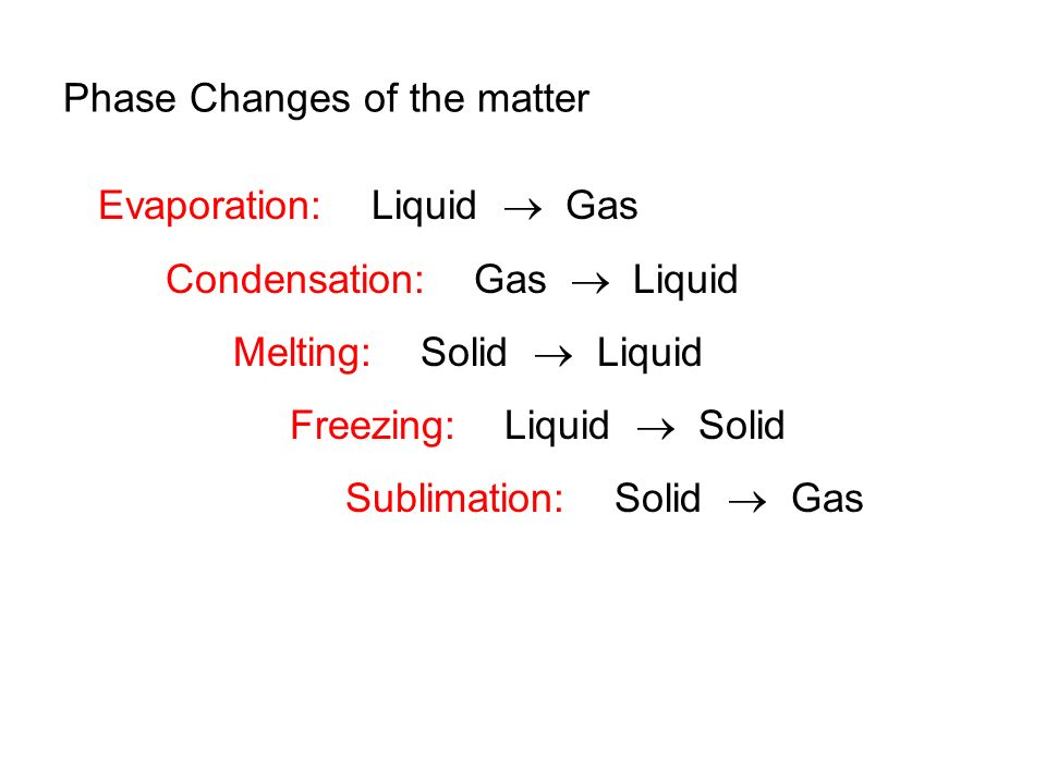 Phase Changes of the matter