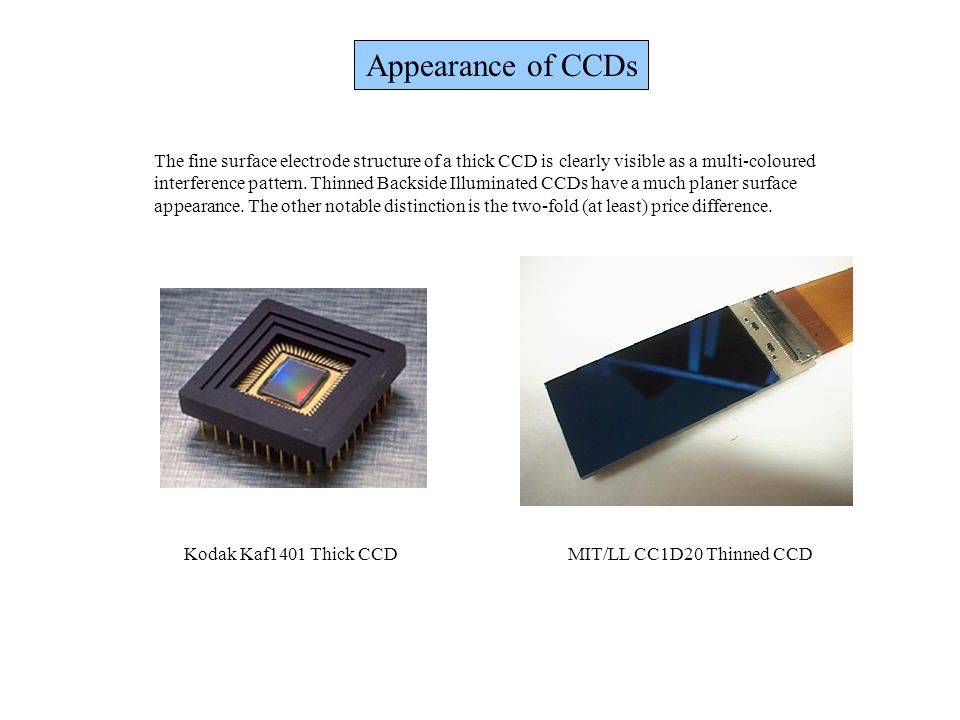 Appearance of CCDs The fine surface electrode structure of a thick CCD is clearly visible as a multi-coloured.