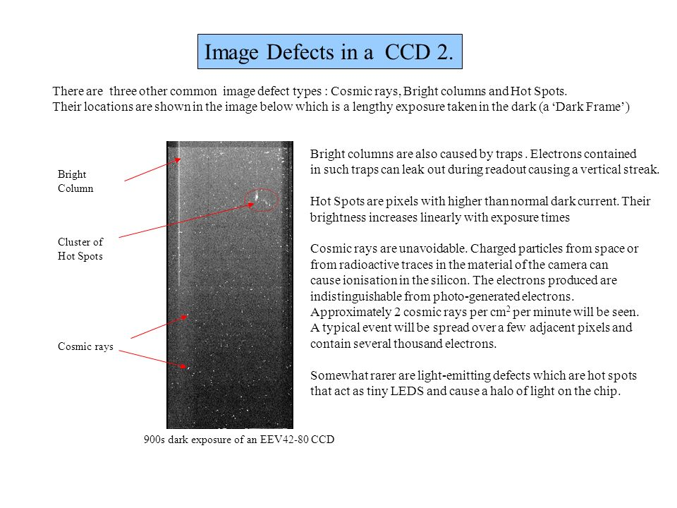 Image Defects in a CCD 2. There are three other common image defect types : Cosmic rays, Bright columns and Hot Spots.