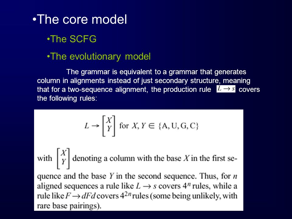 The core model The SCFG The evolutionary model
