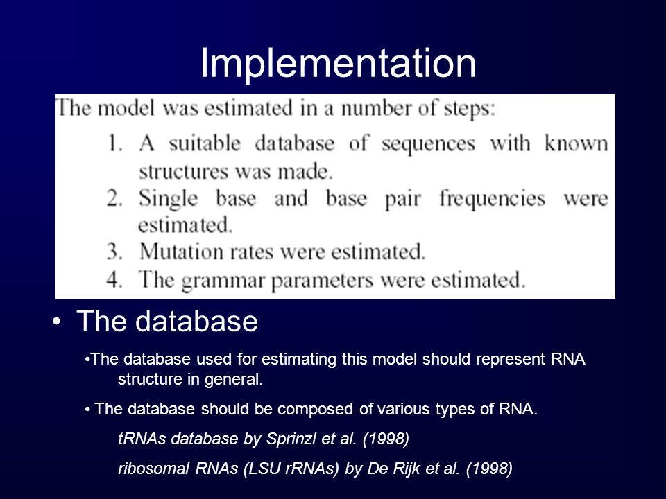 Implementation The database