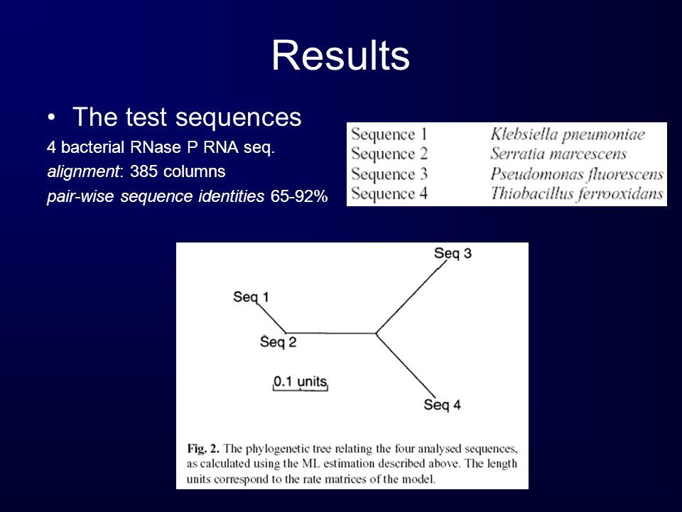 Results The test sequences 4 bacterial RNase P RNA seq.