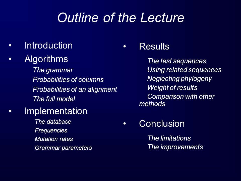 Outline of the Lecture Introduction Results Algorithms Implementation
