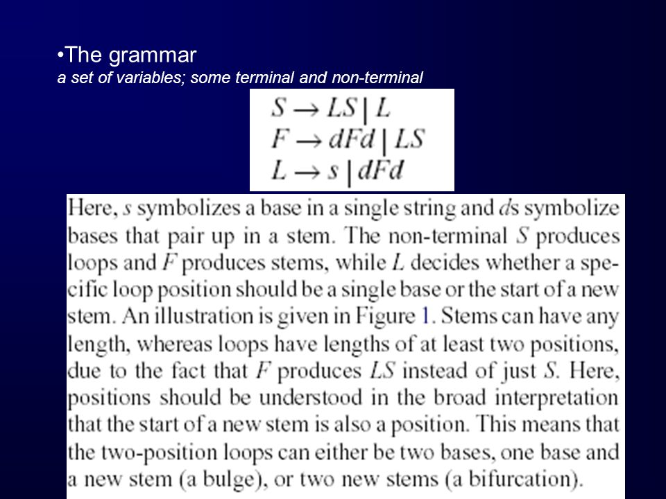 The grammar a set of variables; some terminal and non-terminal