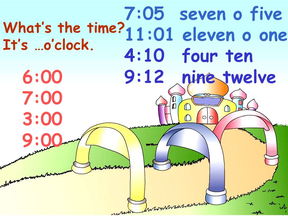7:05 seven o five 11:01 eleven o one 4:10 four ten 9:12 nine twelve