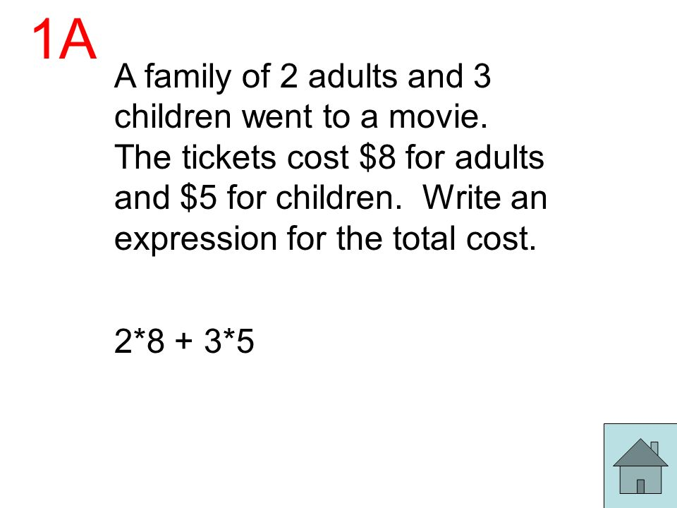 1A A family of 2 adults and 3 children went to a movie. The tickets cost $8 for adults and $5 for children. Write an expression for the total cost.