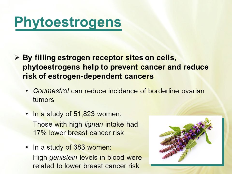Phytoestrogens By filling estrogen receptor sites on cells, phytoestrogens help to prevent cancer and reduce risk of estrogen-dependent cancers.
