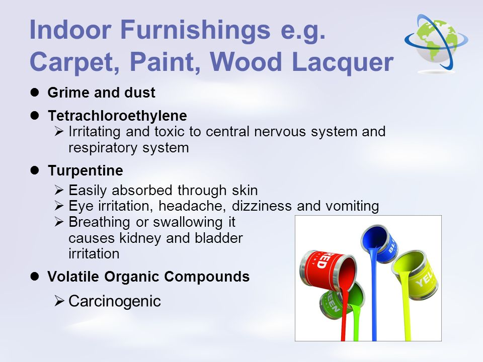 Indoor Furnishings e.g. Carpet, Paint, Wood Lacquer