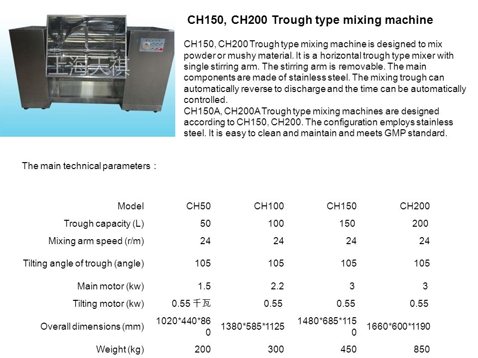 CH150, CH200 Trough type mixing machine