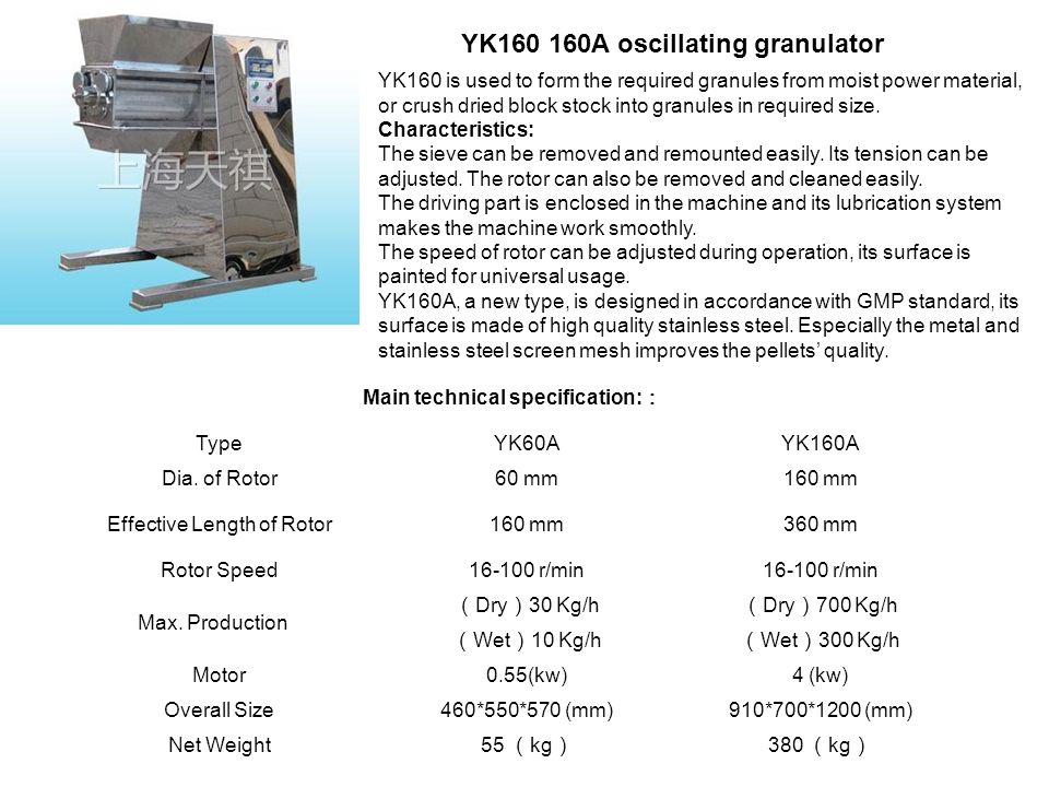 Main technical specification::