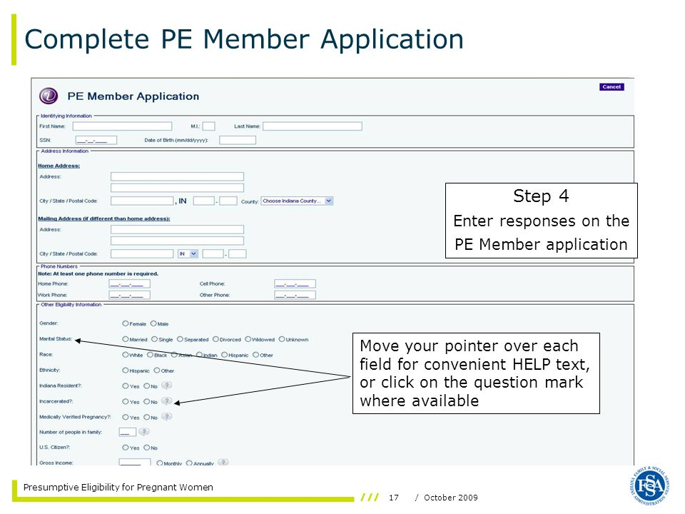 Complete PE Member Application