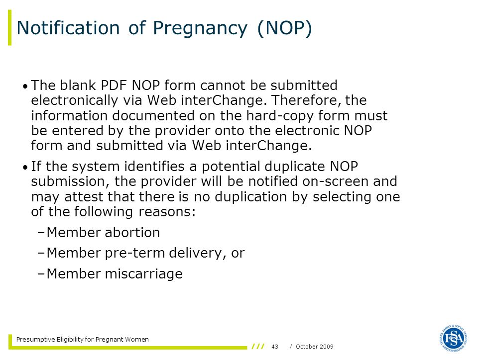 Notification of Pregnancy (NOP)