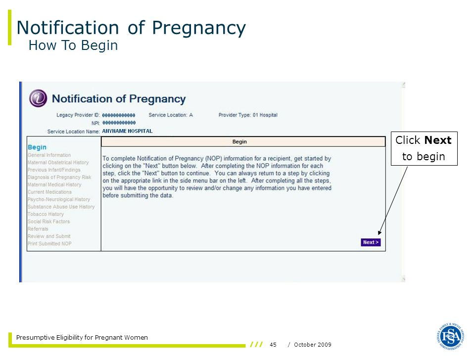 Notification of Pregnancy