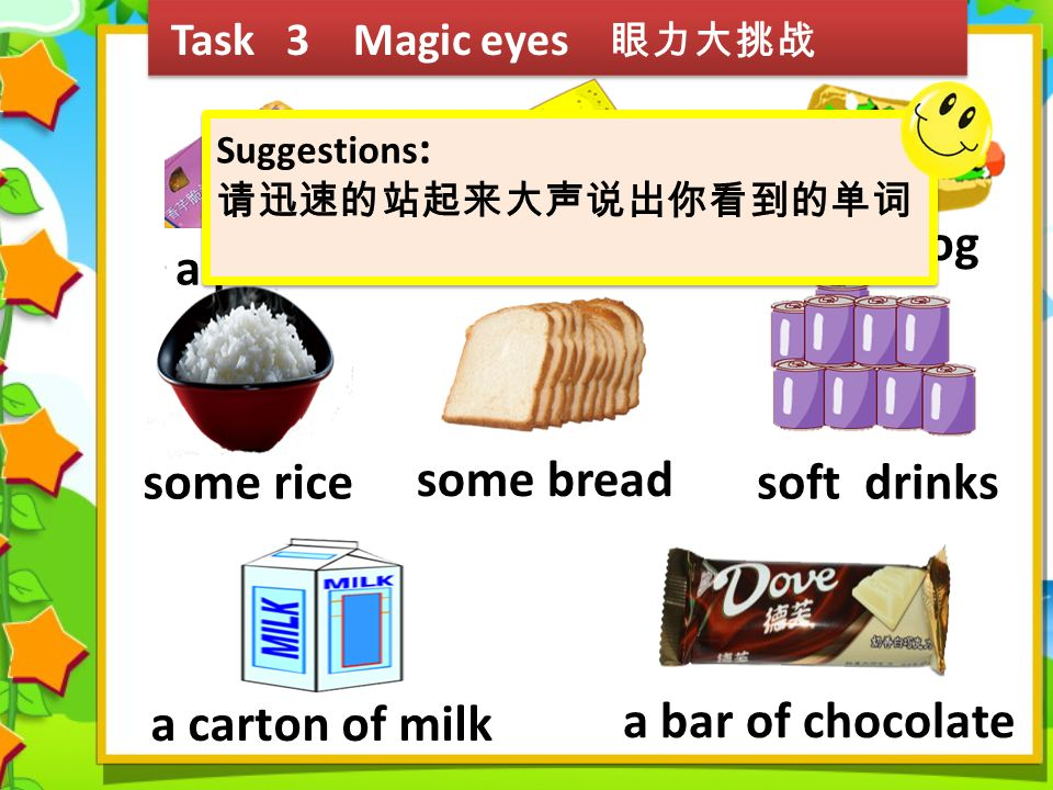 Task 3 Magic eyes 眼力大挑战 a sandwich a hot dog a pie some rice