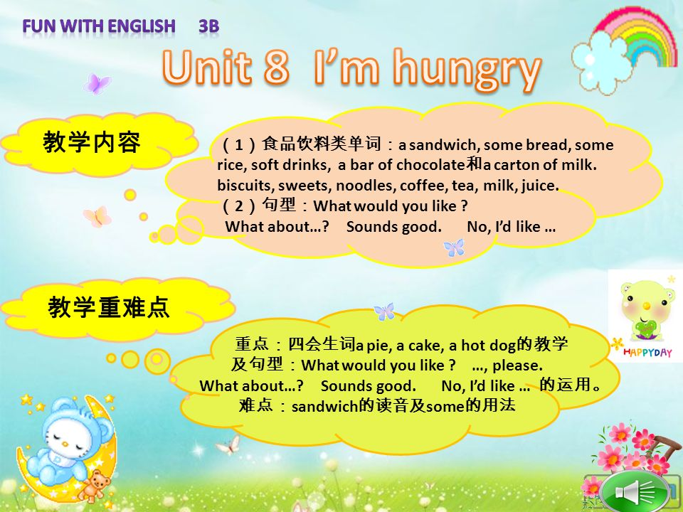Unit 8 I'm hungry 教学内容 教学重难点 Fun with English 3B