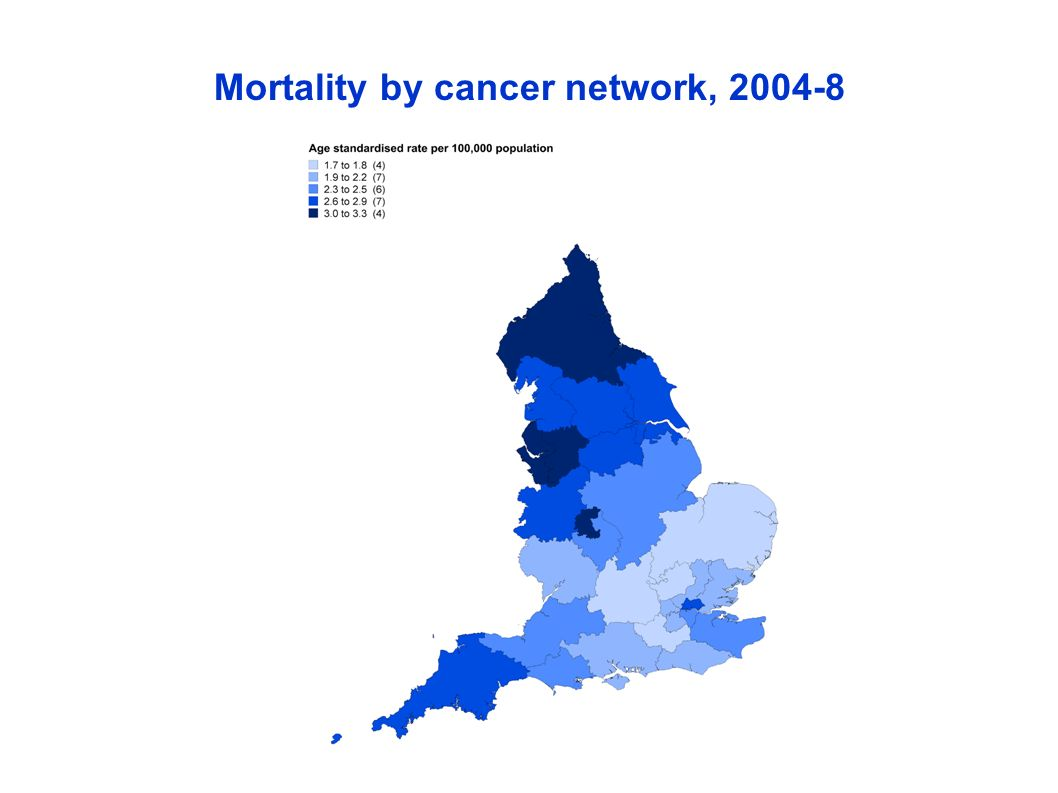 Mortality by cancer network, 2004-8