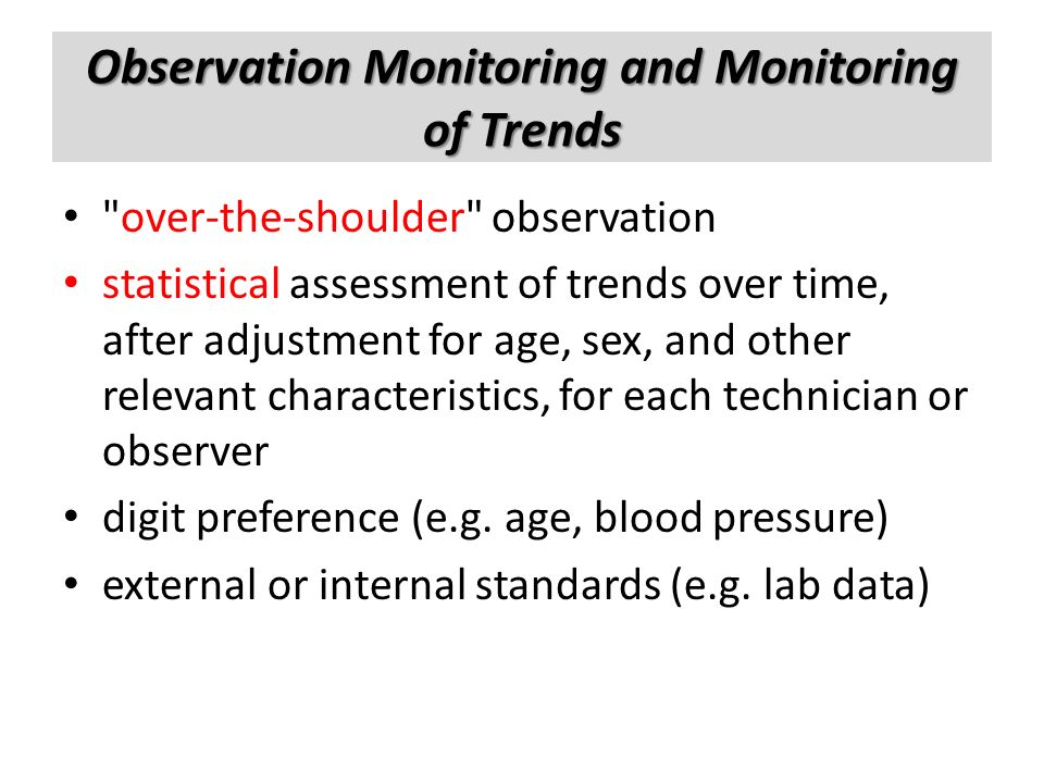Observation Monitoring and Monitoring of Trends