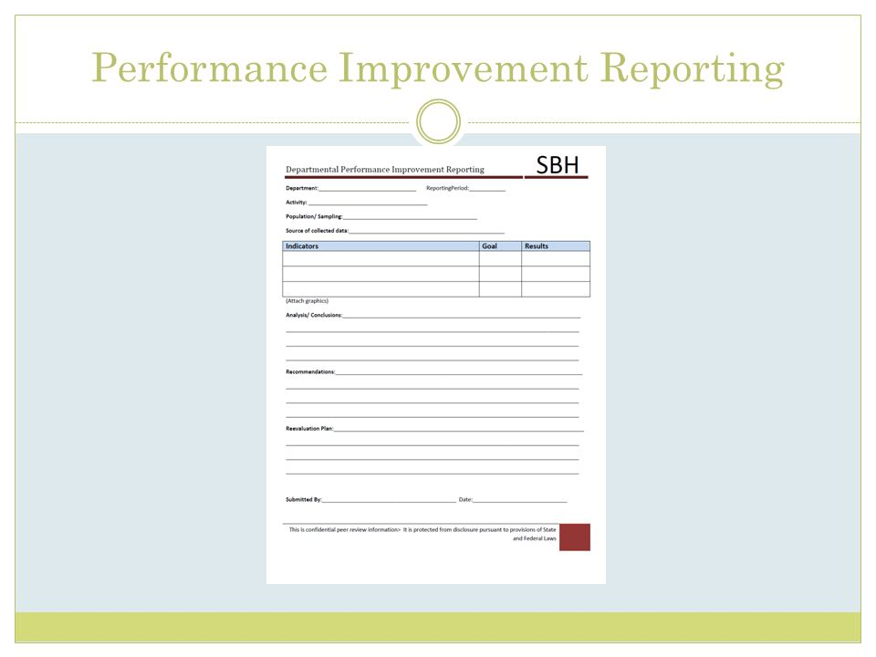 Performance Improvement Reporting