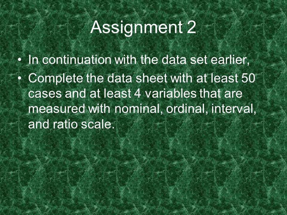 Assignment 2 In continuation with the data set earlier,