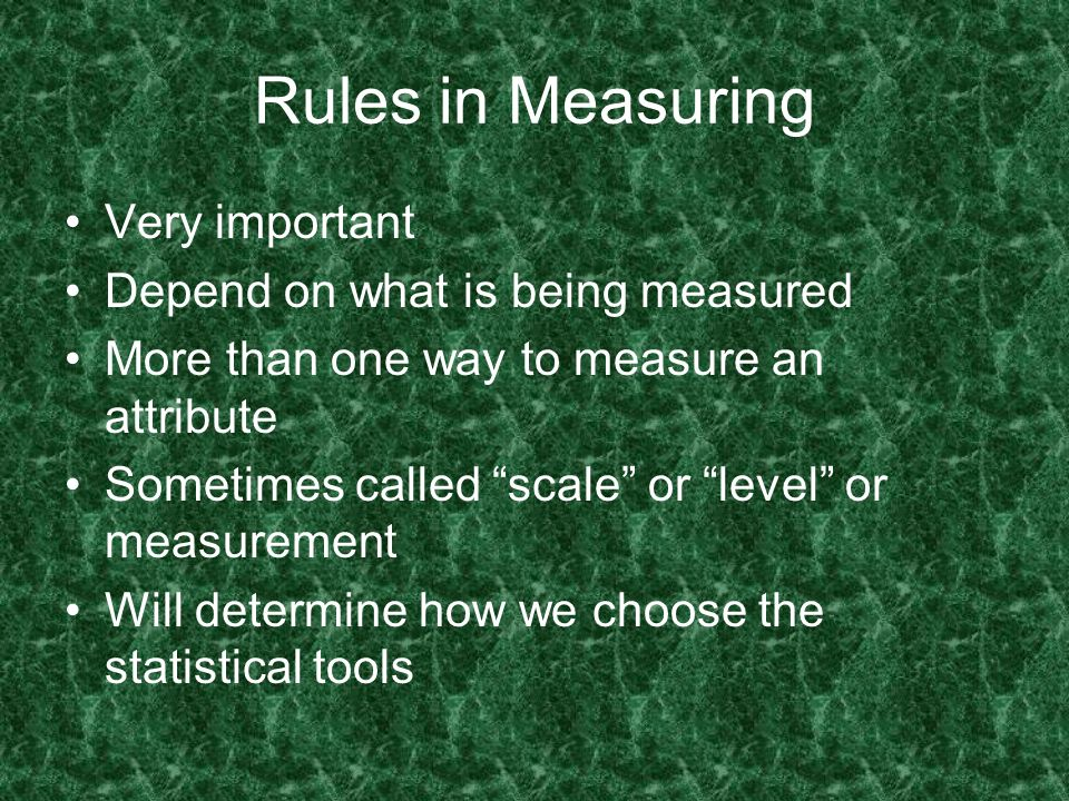 Rules in Measuring Very important Depend on what is being measured