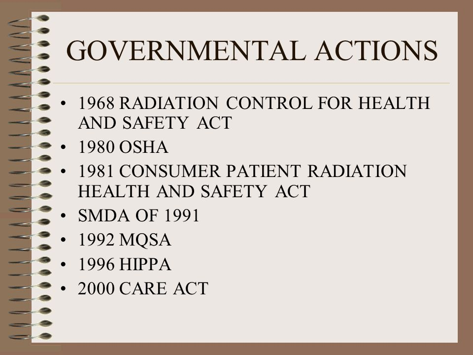 GOVERNMENTAL ACTIONS 1968 RADIATION CONTROL FOR HEALTH AND SAFETY ACT