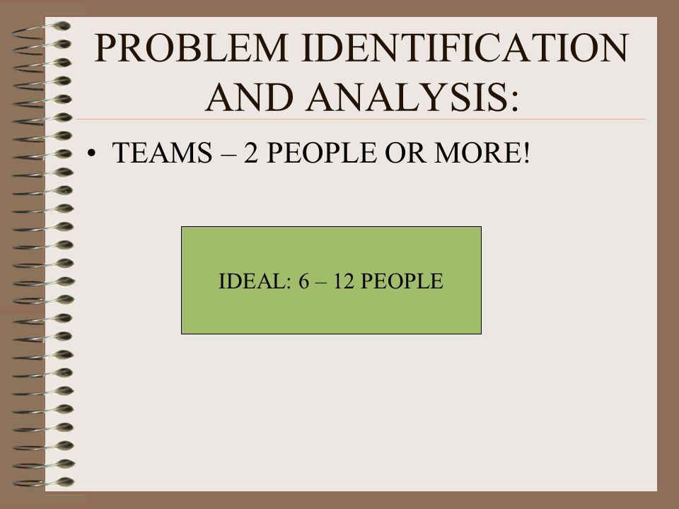 PROBLEM IDENTIFICATION AND ANALYSIS: