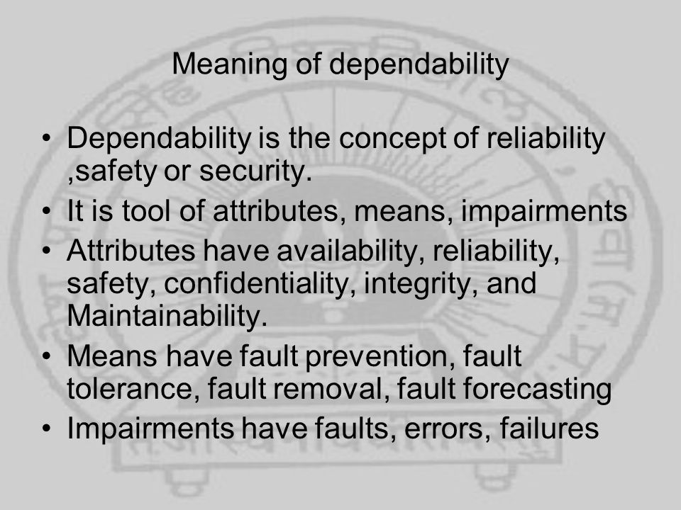 Meaning of dependability